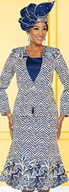 Ben Marc 48218 Floral & Chevron Pattern Flared Skirt Suit