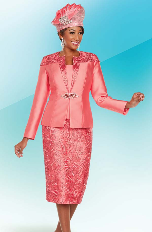 Ben Marc 48220 Skirt Suit With Textured And Solid Silky Twill Design