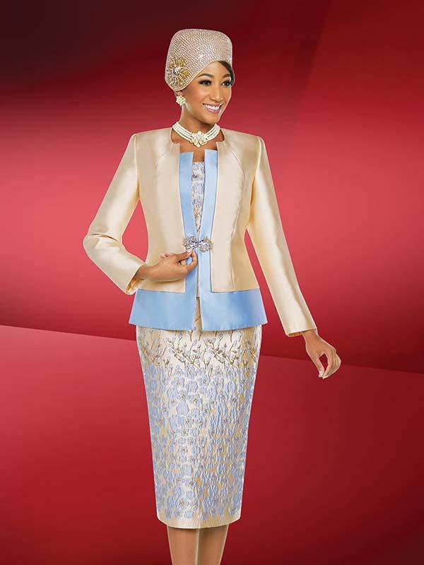 Ben Marc 48221 Skirt Suit With Textured Floral Print Design