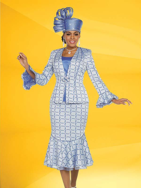 Ben Marc 48222 Flounce Skirt Suit With Ruffle Bell Cuffs & Print Design