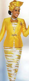 Ben Marc 48223 Womens Church Suit With Printed Skirt & Chamisole Design