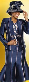 Ben Marc 48224 Womens Church Suit With Flared Skirt In Striped Design