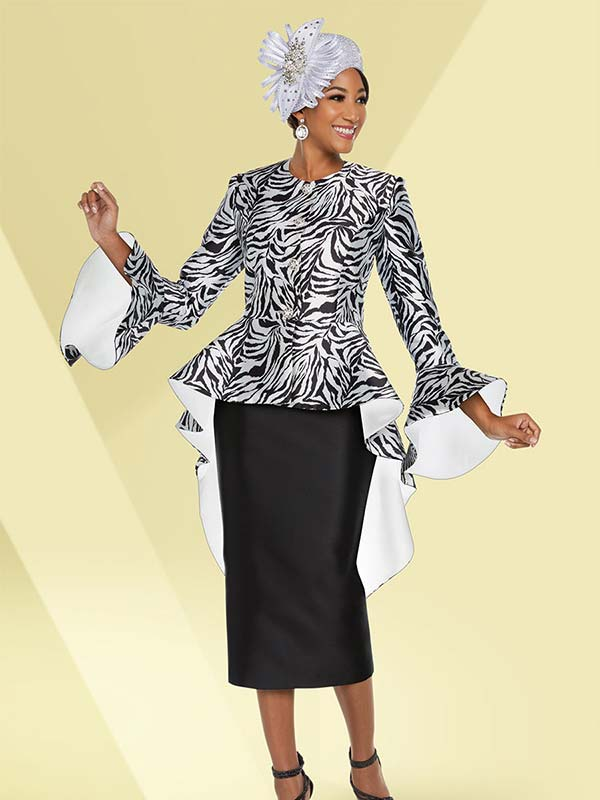 Ben Marc 48227 Skirt Suit With Wide Bell Cuff Long Peplum Jacket In Animal Print