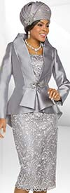 Ben Marc 48229 Silky Lace Skirt Suit With Flared Peplum Jacket