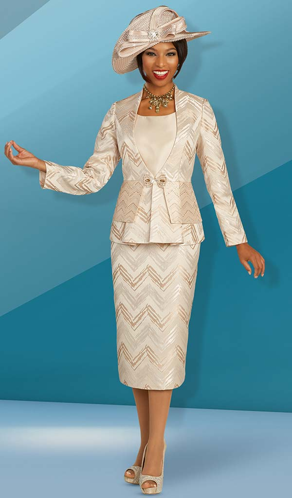 Ben Marc 48311 Womens Three Piece Church Suit With Chevron Pattern Design