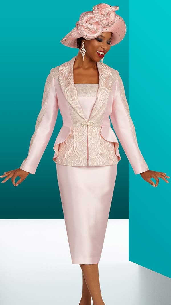 Ben Marc 48312 Womens Shawl Lapel Church Suit With Loop Pattern Design
