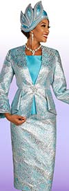 Ben Marc 48317 Womens Three Piece Church Suit In Dual Color Broacade Design