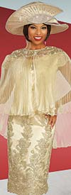 Ben Marc 48320 Ladies Lace Dress With Pleated Organza Cape