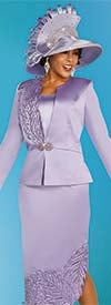 Ben Marc 48322 Three Piece Skirt Suit With Leaf Detail Design