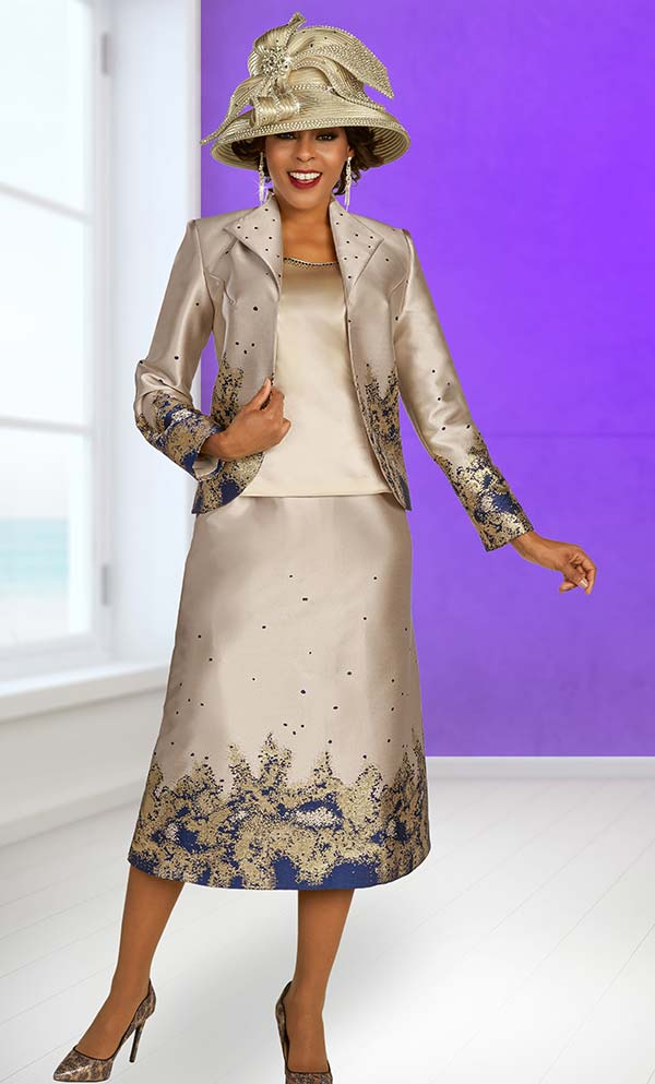 Ben Marc 48328 Three Piece Abstract Print Design Skirt Suit With Wing Lapel Jacket