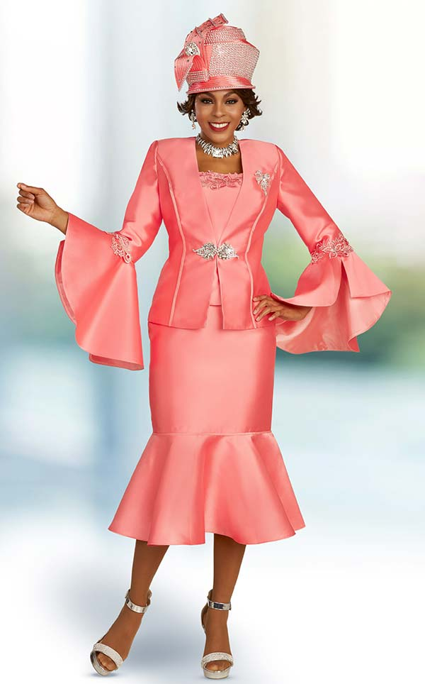 Ben Marc 48331 Three Piece Flounce Skirt Suit With Wide Bell Cuff Sleeves