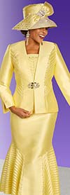 Ben Marc 48334 Three Piece Flared Skirt Suit With Stripped Inset Details