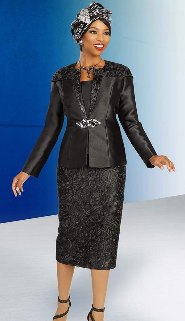 Ben Marc 48337 Three Piece Womens Suit With Lace Skirt And Over Shoulder Detail Satin Jacket