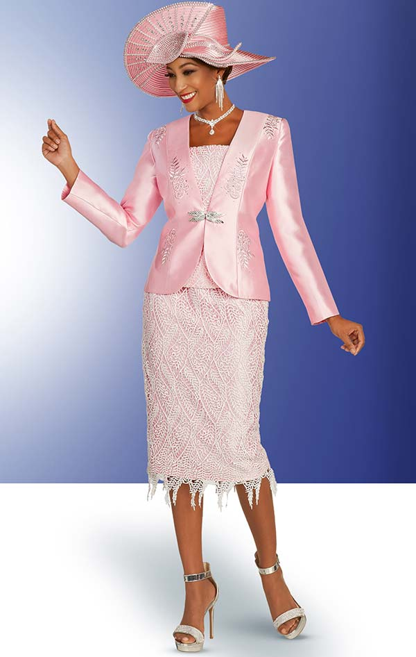 Ben Marc 48338 Satin Church Suit With Lace Skirt & Cami