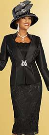 Ben Marc 48339 Three Piece Lace Skirt Suit With Satin Split Cuff Sleeve Jacket