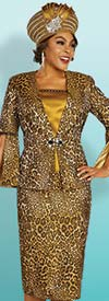 Ben Marc 48342 Womens Leopard Print Skirt Suit With Split Bell Sleeves