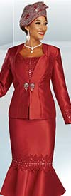 Ben Marc 48345 Satin Twill Flounce Skirt Suit With Embroidery Applique Detail