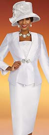 Ben Marc 48350 Satin Twill Church Suit With Floral Embroidery Detail On Jacket And Camisole