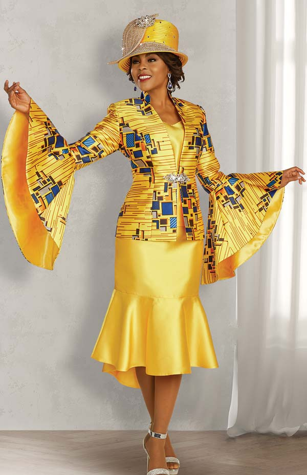 Ben Marc 48351 Womens Church Suit With Flounce Skirt And Ultra Bell Cuff Sleeve Abstract Print Jacket
