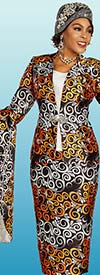 Ben Marc 48352 Multi Color Curl Print Womens Skirt Suit With Ultra Bell Sleeve Jacket