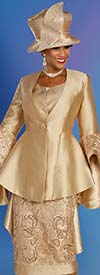 Ben Marc 48353 Satin Twill Skirt Suit With Peplum Jacket And Bell Cuff Sleeves