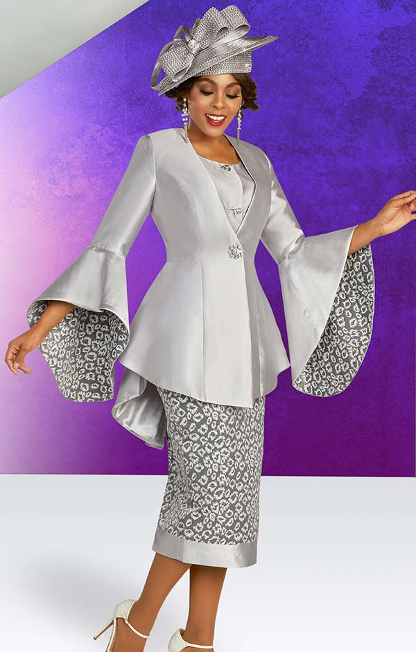 Ben Marc 48354 Satin Twill Print Skirt Suit With Peplum Jacket And Bell Cuff Sleeves
