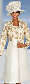 Ben Marc 48356 Skirt Suit With Gold Floral Pattern Design Stand Up Collar Duster Style Jacket