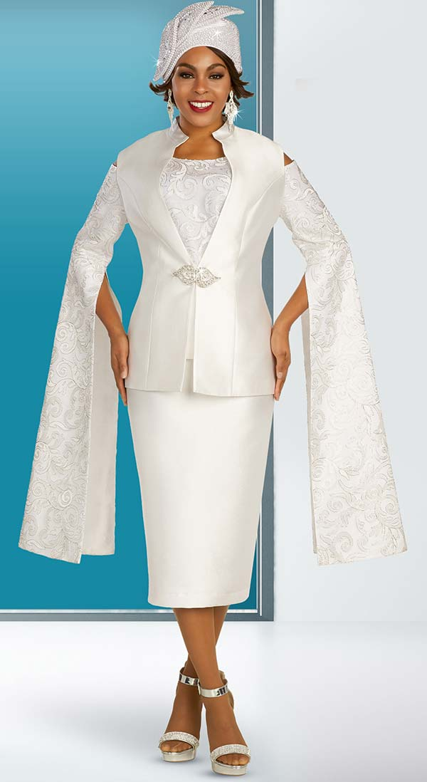 Ben Marc 48359 Satin Twill Church Suit With Cold Shoulder Extended Split Sleeve Jacket