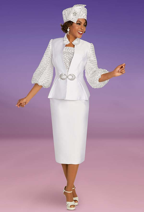 Ben Marc 48360 Satin Twill Church Suit With Sequin Embellishments And Bishop Sleeve Design