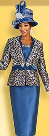 Ben Marc 48364 Church Suit With Solid Skirt And Print Jacket