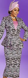 Ben Marc 48365 Multi Color Animal Print Skirt Suit With Peak Lapel Peplum Jacket