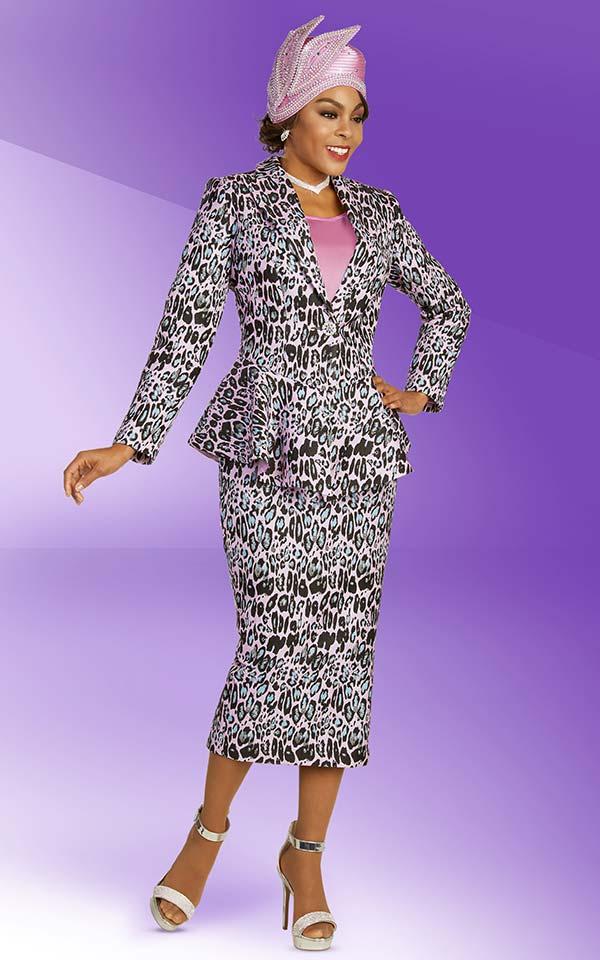 Ben Marc 48365 Multi Color Animal Print Skirt Suit With Peak Lapel Peplum Jacket