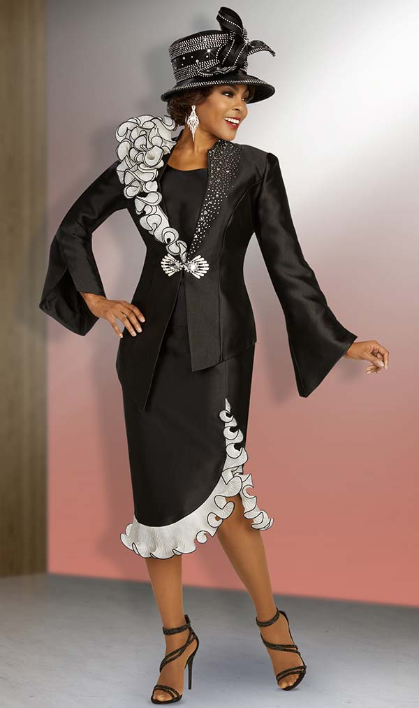 Ben Marc 48367 Embellished Bell Sleeve Asymmetric Jacket & Skirt Suit With Ruffle Trim Design