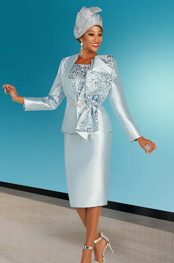 Ben Marc 48373 Satin Twill Church Dress And Jacket Set With Elaborate Printed Adornment