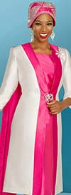 Ben Marc 48376 Dual Tone Satin Twill Church Dress And Duster Jacket Set With Half Cape Design