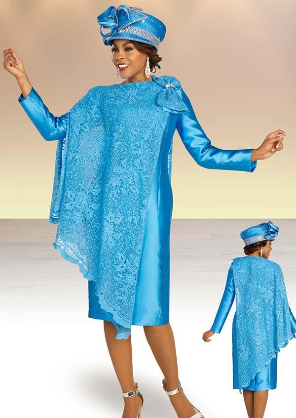 Ben Marc 48377 Two Piece Satin Dress & Cape Style Lace Jacket
