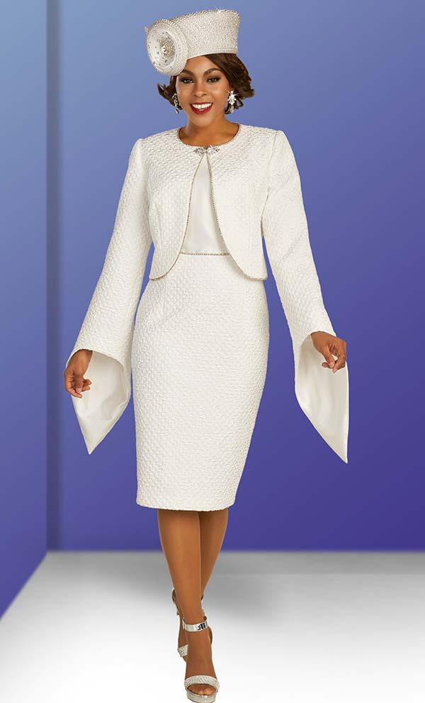 Ben Marc 48381 Womens Church Dress With Pointed Bell Sleeve Embellished Trim Bolero Style Jacket