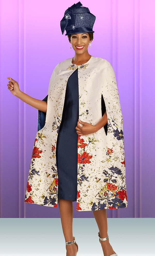 Ben Marc 48383 Two Piece Dress And Floral Print Cape Set