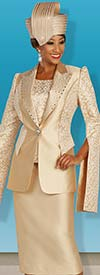 Ben Marc 48385 Church Skirt Suit With Peak Lapel Extended Split Sleeve Jacket