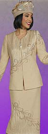 Ben Marc 48401-Chardonnay - Womens Knit Skirt Suit With Vertical Satin Stripe And Rhinestone Detail
