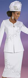 Ben Marc 48401-White - Knit Womens Skirt Suit With Vertical Satin Stripe And Rhinestone Detail