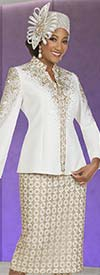 Ben Marc 48402 Womens Knit Suit With Lace Design Skirt And Embellished Star Neckline Jacket