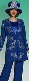 Ben Marc 48403 - Womens Knit Pant Suit With Rhinestone Detail Design Jacket