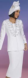 Ben Marc 48404 - Knit Womens Skirt Suit With Diamond Shaped Rhinestone Pattern Detail