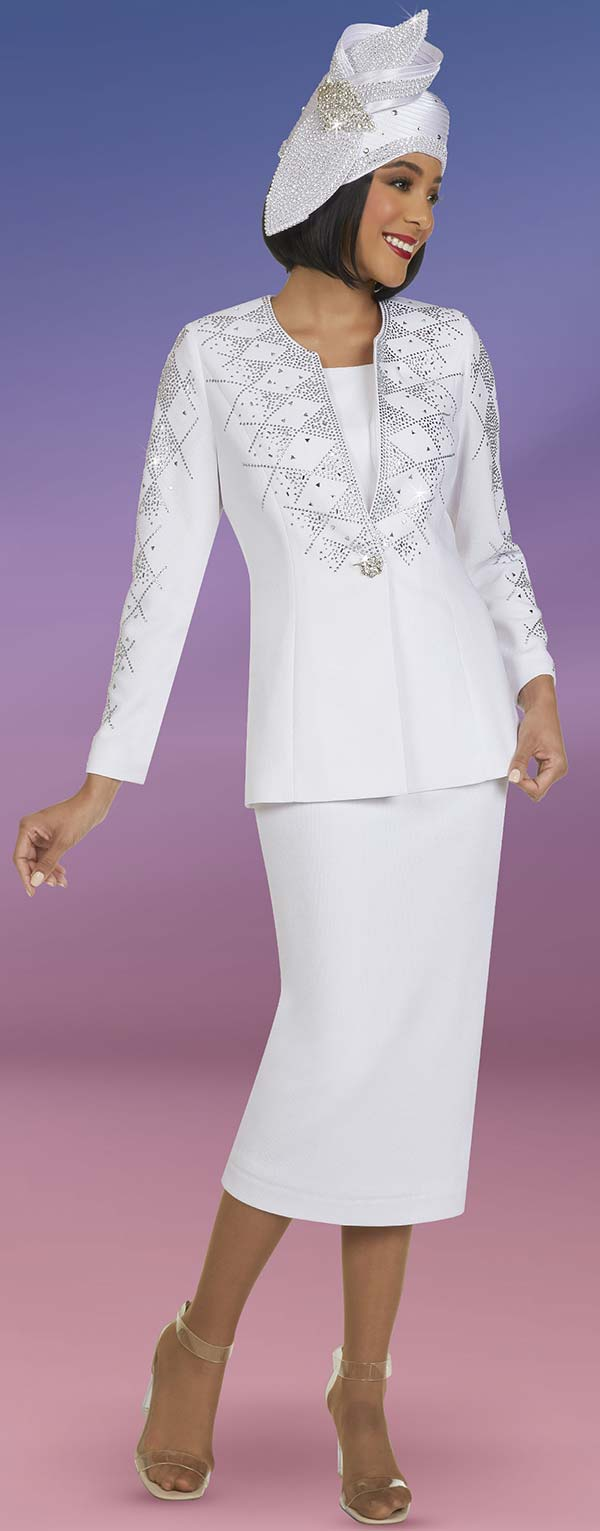 Ben Marc 48404 - Knit Womens Skirt Suit With Diamond Shaped Rhinestone Pattern Detail
