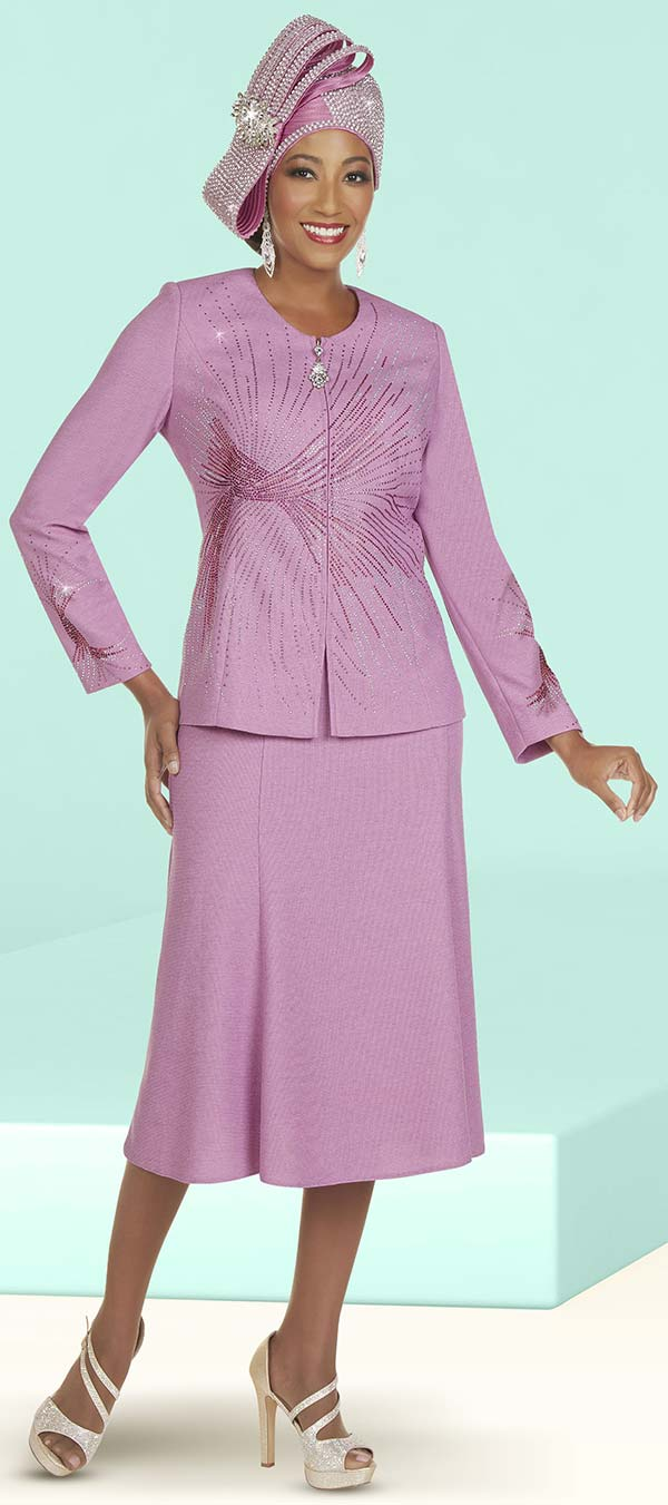 Ben Marc 48405 - Womens Knit Skirt Suit With Color Rhinestone Detail Design Jacket