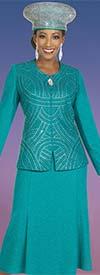 Ben Marc 48408-Aquamarine - Knit Womens Skirt Suit With Rhinestone Detail