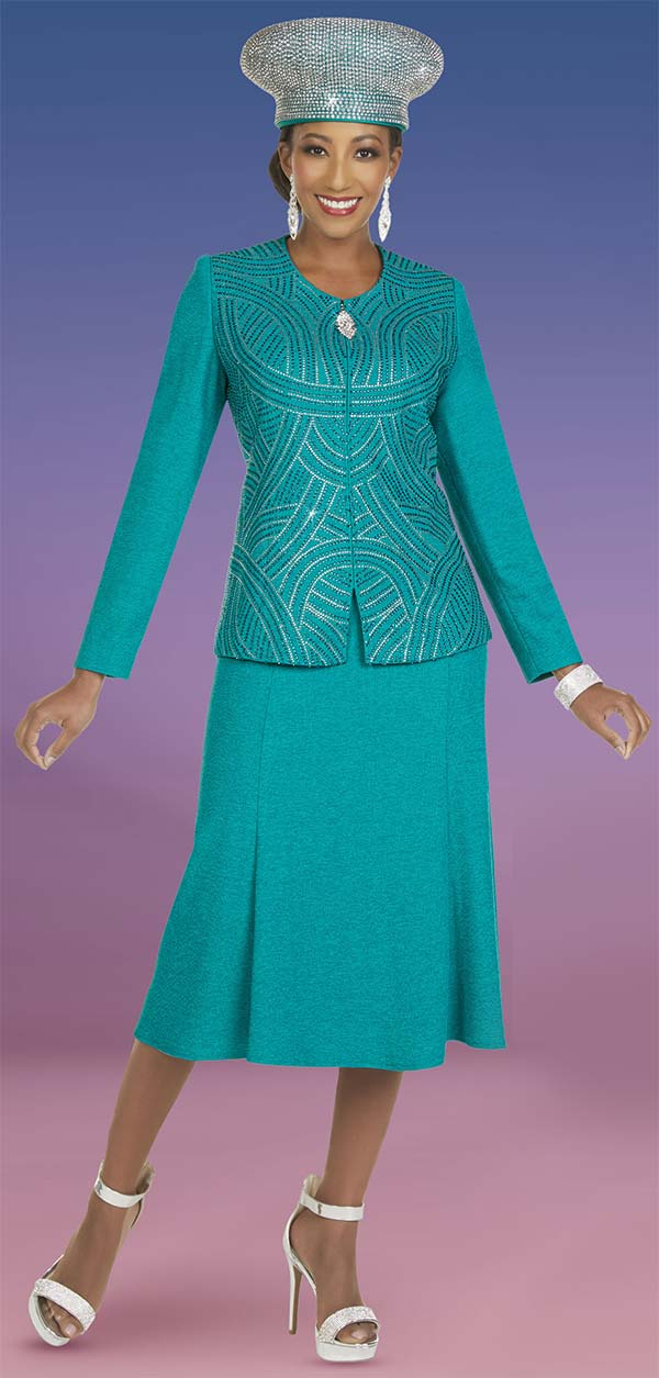 Ben Marc 48408-Aquamarine - Knit Womens Skirt Suit With Rhinestone Detail