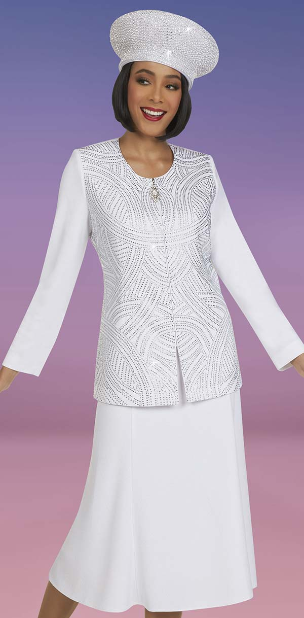 Ben Marc 48408-White - Knit Womens Skirt Suit With Rhinestone Detail