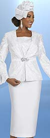 Ben Marc 48410 Three Piece Womens Skirt Suit With Split Cuff Sleeve Jacket